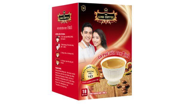 Cà phê đen King Coffee 3 in 1 hộp 18 gói