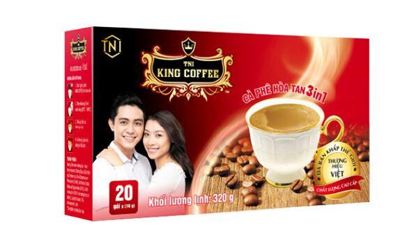 Cà phê đen King Coffee 3 in 1 hộp 20 gói