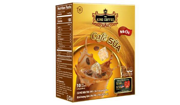 Cà phê sữa hòa tan King Coffee 3in1 hộp 10 gói