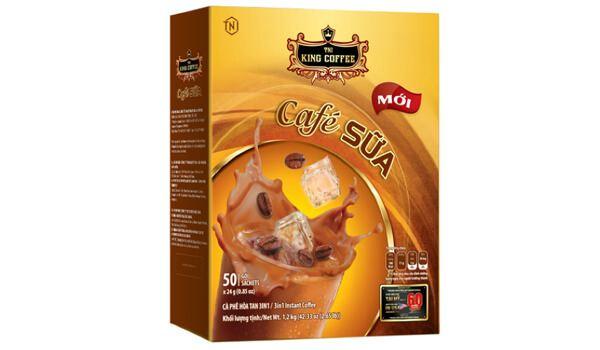 Cà phê sữa hòa tan King Coffee 3in1 hộp 50 gói