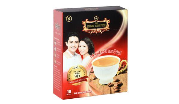Cà phê đen King Coffee 3 in 1 hộp 10 gói